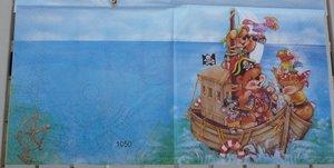 Sago pirater( visar halva servetten)    Bilden upprepas 2 ggr på servetten.
