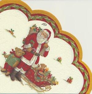 Rund servett med Julmotiv (Visar en del av servetten)