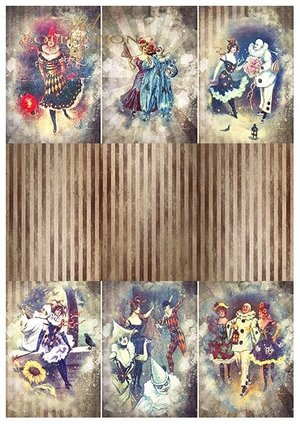 Scrapbooking papers SCRAP-052 ''Carnival - Pierrot in love''