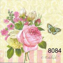 Rosbukett med text och fjäril   8084