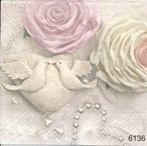 Romantiskt motiv med rosor och duvor   6136