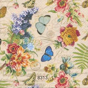 Blommor med fjärilar mm.  8313