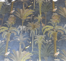 marinblå botten med afrikanska Djur elefanter odyl.