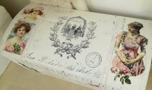 Kista shabby chic med franska texter och viktorianska damer