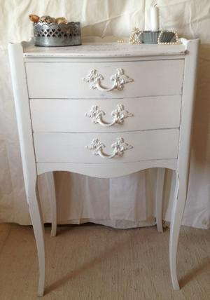 Nightstand or sideboard with french script