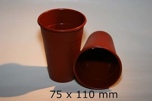 POT ROUND, 75 x 110 mm, plastic, brown