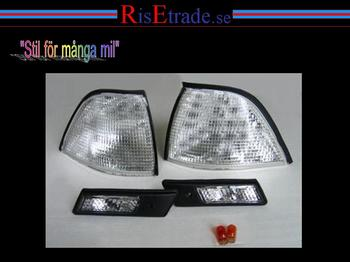Front-och sidoblinkers i silver till BMW E36 Coupe+Cab.