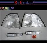 Front- och sidoblinkers i silver till BMW E36 4d sedan 96-