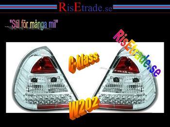 Kromade LED Baklampor till  Mercedes W202