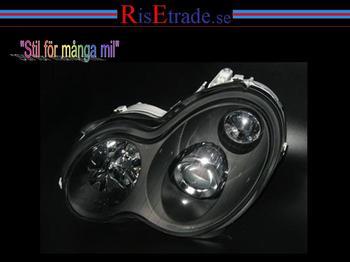 Facelift Strålkastare i svart till Mercedes W203