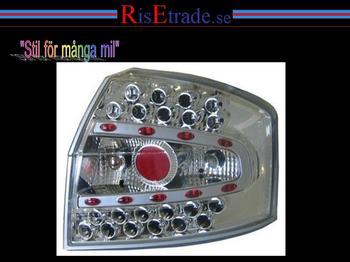 LED baklampor i krom till Audi A4 8E sedan