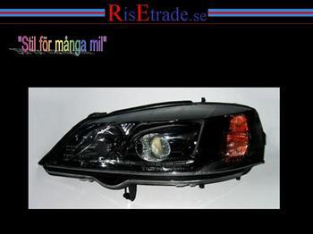 Svarta xenon strålkastare till Opel Astra. G.