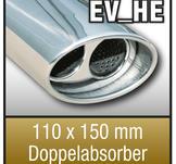 """Absorbatorn SuperSport avgasrör variant """"HE"""" 110x150mm oval, dubbel,"""