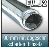 "SuperSport avgasrör variant ""J2"" 90mm b""jd med uppsats 76mm, skarp Kant, med absorber"
