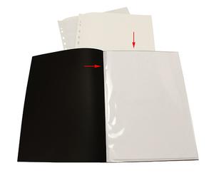 Displayficka A4 0,35 frost pp med 10 st insvetsade fickor(öppen kort+1/3 långsida)