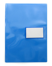 Mapp A4 0,18 pvc blå/glas med visitkortsflik