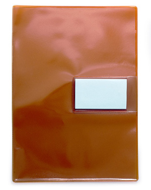 Mapp A4 0,18 pvc röd/glas med visitkortsflik