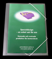 Mapp G-snodd A4 bred i 0,45 transp. cristaline PP, glasklar ficka på framsida, lev mont. 10st/fpk