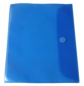 Portföljmapp A4 PP transp. blå med kardborre