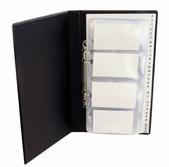 Pärm visitkort A4 PVC skum svart, komplett med register A-Ö, 20 fickor och 10 linjerade blad