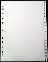 Register A4 PP vita 1-20 svart pag. Levereras individuellt packade i påse inkl. försättsblad i papp