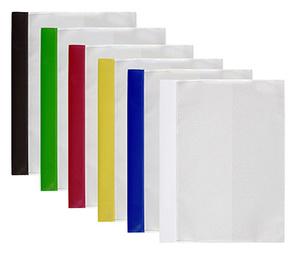Offertmapp A4, dubbel framsida & rak ficka sid 3 i transp. präglad pp, gul rygg. Mont. mek