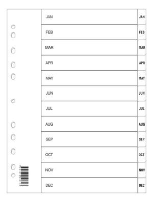 Register A4 PP vita jan-dec svart pag. Lev. individuellt packade i påse inkl. försättsblad i papp