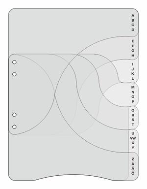 Specialdesignat register A4 i 0,45 frostad pp, 7 flikar A-Ö svart pag. - till körpärm. Individuellt  packade i påse