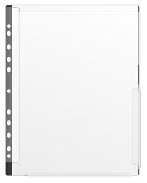 [Utgående] Bälg ficka nedsk. A4 i 0,20 glaskl. pp, svart signalkant + marginal. 50-pack