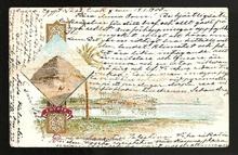 """Lagerlöf, Selma (1858–1940): Egenhändigt skrivet och undertecknat (""""Din Selma"""") brevkort till """"Fröken Anna Oom, Landskrona, Suède""""."""