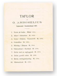 (Arborelius, Olof) (1842-1915): Taflor af O. Arborelius. Exponerade i Konstnärshuset 1907.