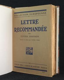 Johnson, Eyvind: Lettre recommandée. […] Traduit du Suédois par Victor Vinde.