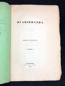 Fryxell, Olof (utg.): Hvarjehanda. Första häftet.