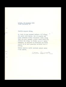 """Quasimodo, Salvatore (1901–1968): Maskinskrivet, egenhändigt undertecknat brev, 1 s., daterat """"Milano, 16 novembre 1959""""."""