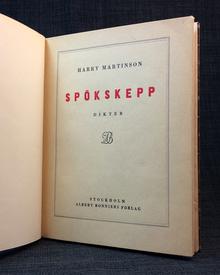 Martinson, Harry: Spökskepp. Dikter.