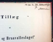 """Worsaae, J. J. A.: Runamo og Braavalleslaget. Et Bidrag til archæologisk Kritik. [Tillsammans med:] Tillæg til """"Runamo og Braavalleslaget""""."""