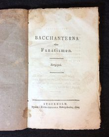 Stagnelius, Erik Johan: Bacchanterna eller fanatismen. Sorgspel.