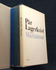 Lagerkvist, Pär: (Författarens sista fyra böcker, med dedikationer till Henry och Birgit Olsson:) Ahasverus död. - Pilgrim på havet. - Det heliga landet. - Mariamne.