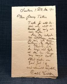 (Larsson, Carl) (1853-1919): Egenhändigt skrivet och undertecknat brev till Percy Tottie, 1911.