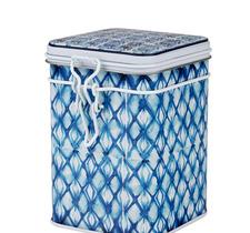 Fyrkantig teburk - Indigo blå med snäpplock 150 g