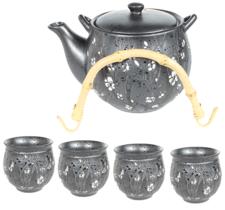 Tekanna med 4 koppar - Grå med blommor