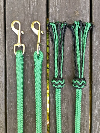 Split reins with permanent snaps and tassels