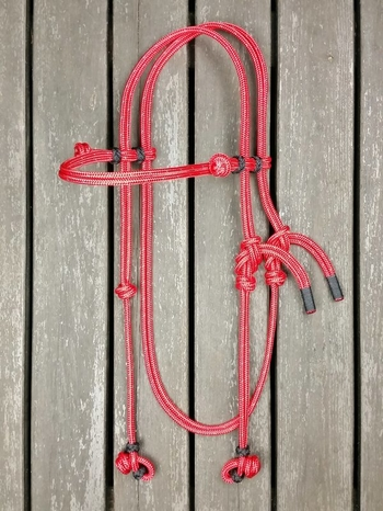 Rope bridle with rope halter tying