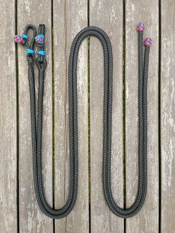 Rope bosal set incl. headstall and split reins - Cob, Black