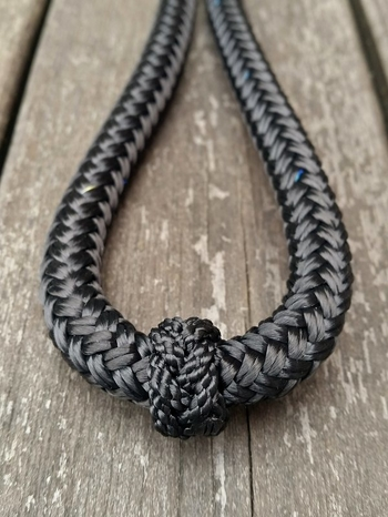 Loop reins with rope connectors and middle marker - 10 mm, 2,40 m, Black