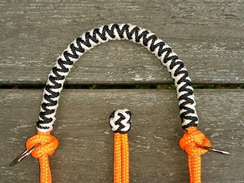 Braided sidepull rope halter with rings - Cob, Orange