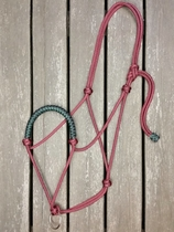 Braided rope halter with lead rope ring