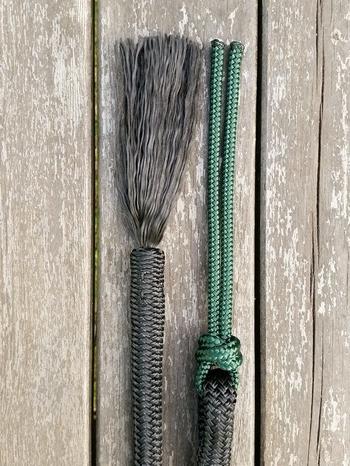 Mecatetygel med ändsplitstofs och repsnärt - 14 mm, 6,70 m, Svart