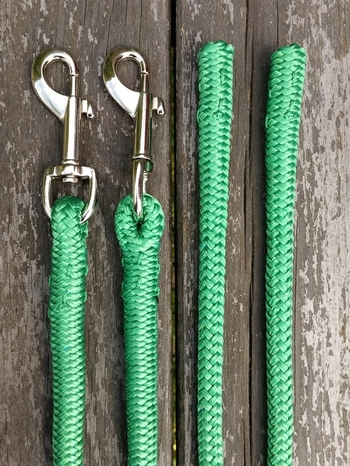 Long split reins with permanent snaps  and back splices - 6 mm