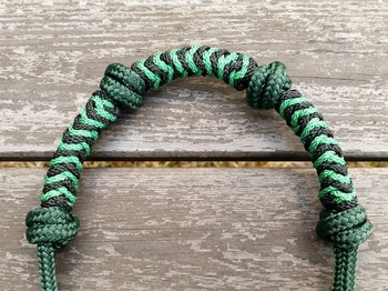 Standard rope halter with extra nose knots and braided noseband - Cob, Hunter green